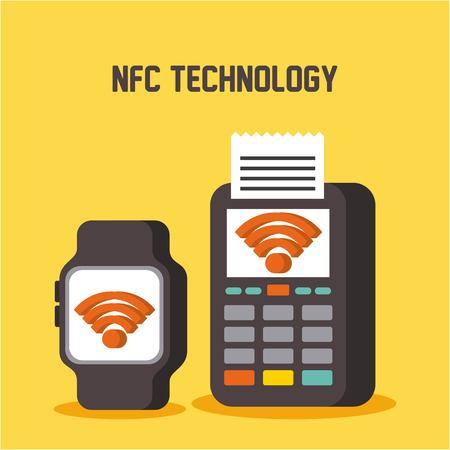 nfc technology smart watch and dataphone pay concept vector illustration