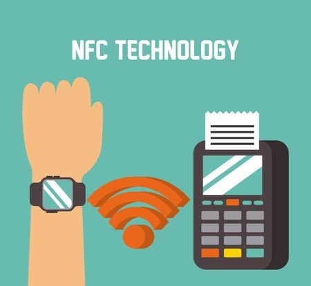 payment approved through smart watche with nfc online transaction vector illustration
