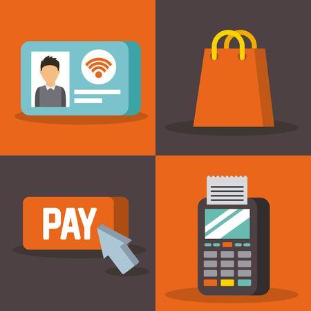 Ensemble de paiement avec nfc icônes technologie sans contact concept illustration vectorielle Banque d'images - 89587099