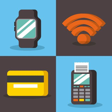set of payment with nfc icons contactless technology concept vector illustration