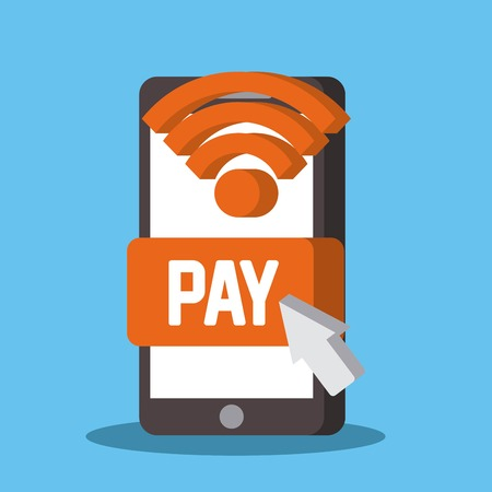 near field communication mobile phone payment mobile for apps vector illustration Illustration