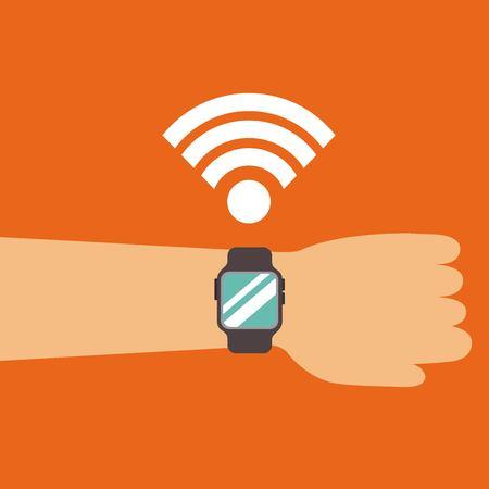smart watch on hand wifi signal technology icon vector illustration Ilustração