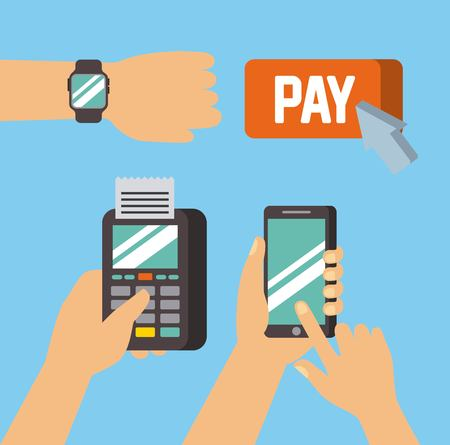 時計携帯電話技術ベクトルイラストで支払いモバイルオンラインコンセプトハンド