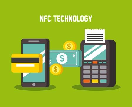 mobiele betalingen die de terminal van de smartphandathefoon en creditcardgeld gebruiken dichtbij de vectorillustratie van de gebiedscommunicatietechnologie Stock Illustratie