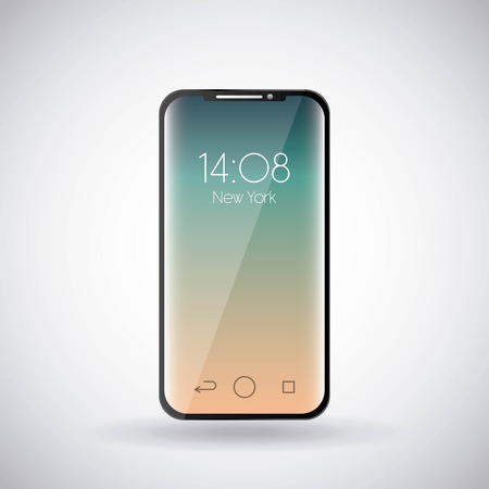 휴대 전화 시계 시간 화면 가제트 기술 벡터 일러스트 레이션