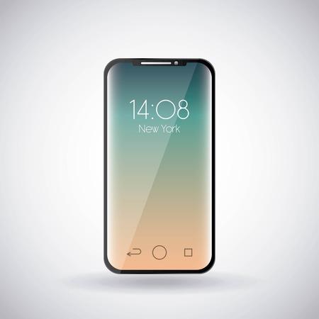 mobile phone clock hour screen gadget technology vector illustration Çizim
