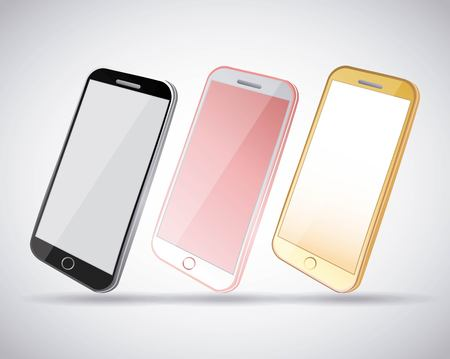 set of mobile phone gadget with blank screen vector illustration