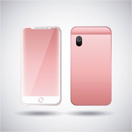 pink smartphone gadget digital front and back view design vector illustration