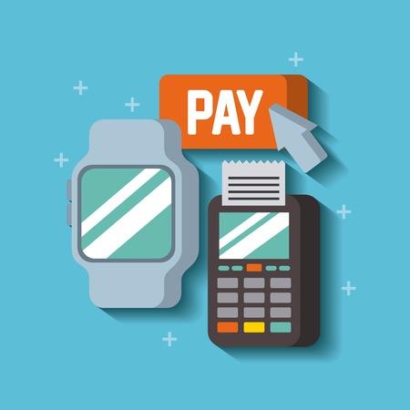 스마트 시계 데이터 전화 지불 디지털 온라인 벡터 일러스트와 연결