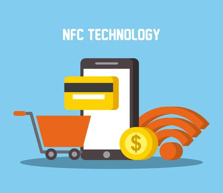 nfc technology mobile phone shopping cart wifi credit card money vector illustration