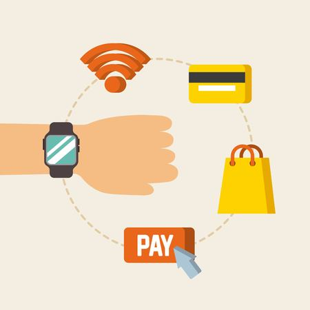 hand with wearable technology online pay wifi credit card shop vector illustration