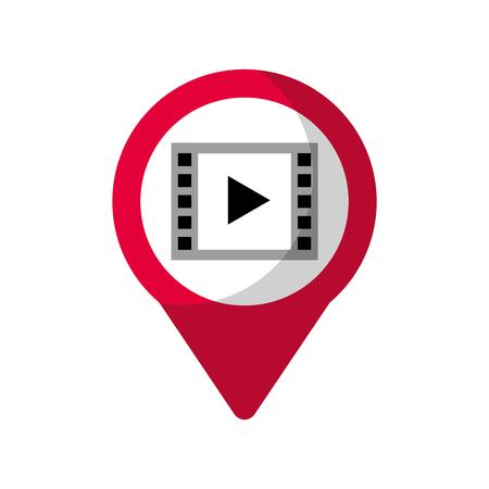 ビデオプレーヤーソーシャルメディアラウンドポインターウェブベクトルイラスト