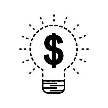 Idea bulb with dollar money creative symbol vector illustration