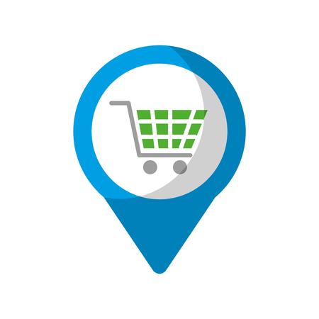 shopping cart online social media  round pointer web vector illustration