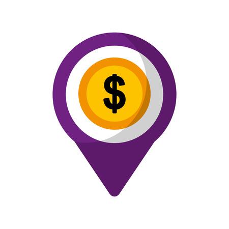 money dollar social media  round pointer web vector illustration