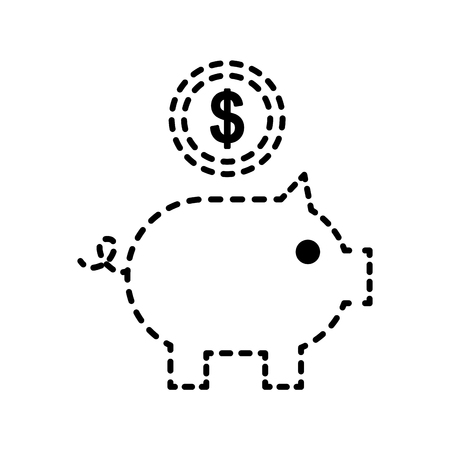 piggy bank with coin bank saving application vector illustration