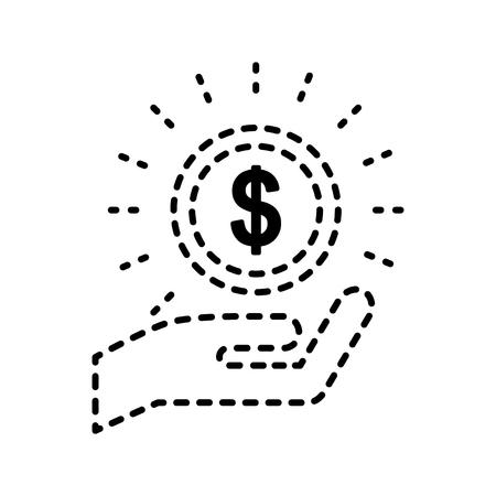 hand met munt in zin inkomen vectorillustratie Stock Illustratie