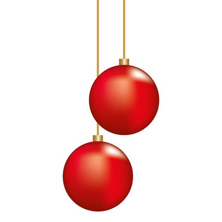 Christmas red balls hanging ornament decoration vector illustration