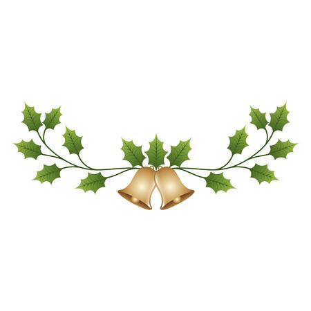 クリスマス装飾飾り鈴、常緑の枝のベクトル図