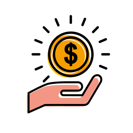 Hand holding coin in meaning income vector illustration