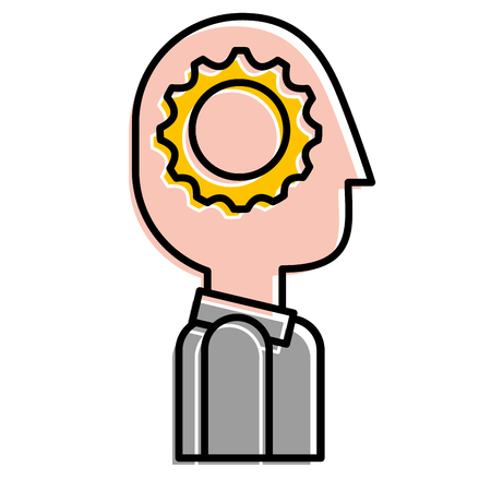 Silhouette man with gear think innovation vector illustration