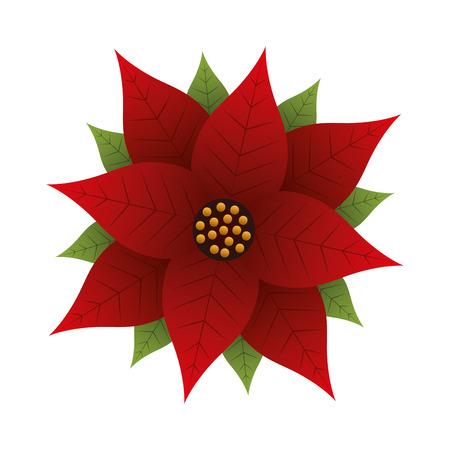 Christmas poinsettia flower and leaves decoration vector illustration Stock fotó - 89694330