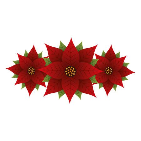 クリスマスのポインセチアの花と葉の装飾ベクターイラスト
