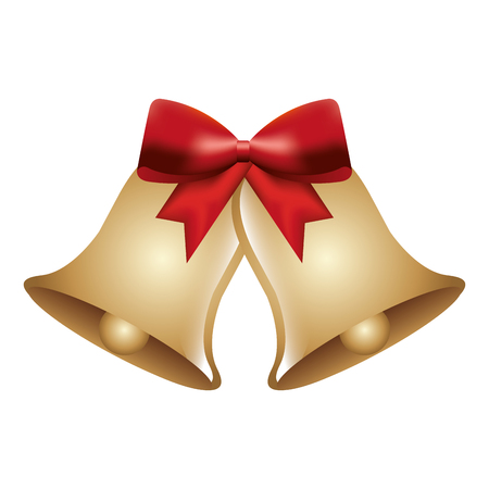 christmas bells with red bow decoration vector illustration Ilustracja