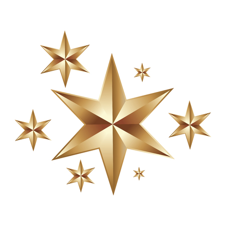 decorative christmas stars golden ornament icon vector illustration