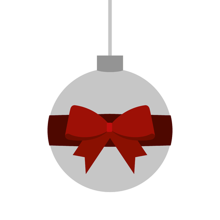 Christmas ball wrapped ribbon bow decoration vector illustration Stock Vector - 89694553