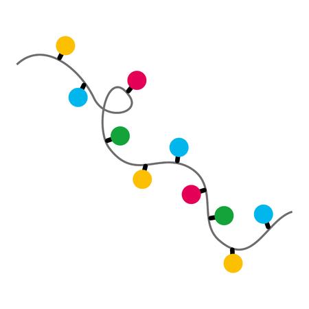 Garlands christmas decorations lights effects design vector illustration