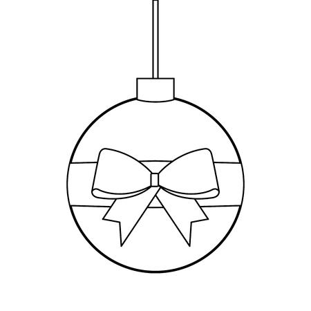 Van de het lintboog van Kerstmisbal verpakte de decoratie vectorillustratie