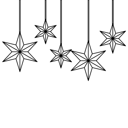 Christmas ornaments with stars hanging and decoration vector illustration Ilustracja