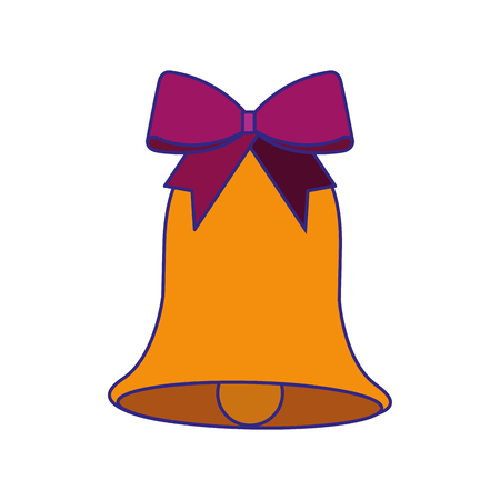 christmas bell with bow decoration season vector illustration