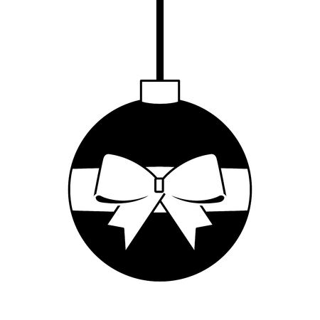 christmas ball wrapped ribbon bow decoration vector illustration