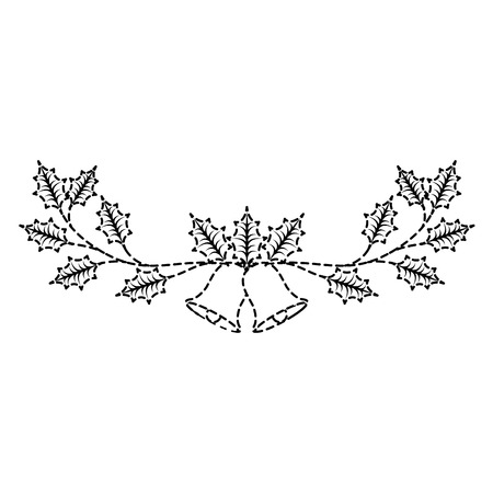 Weihnachten verzierte Verzierungsglocken und immergrüne Niederlassungsvektorillustration Standard-Bild - 89694481
