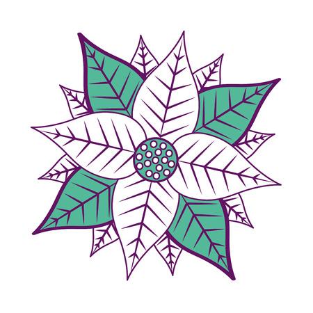 christmas poinsettia flower and leaves decoration vector illustration Illusztráció