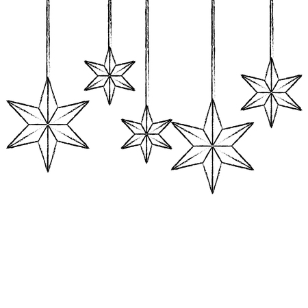 christmas ornaments with stars hanging and decoration vector illustration
