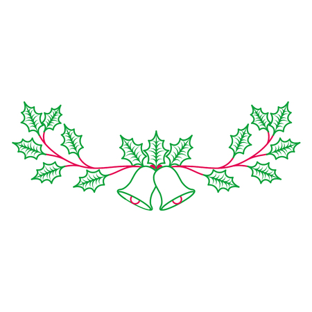 christmas decorated ornament bells and evergreen branch vector illustration