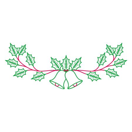 Weihnachten verzierte Verzierungsglocken und immergrüne Niederlassungsvektorillustration Standard-Bild - 89698271