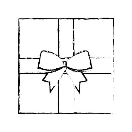 Kerst geschenk aanwezig vak verpakt lint boog viering vectorillustratie