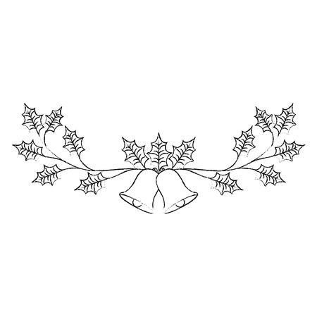 Kerst versierd ornament klokken en groenblijvende tak vector illustratie Stockfoto - 89696029