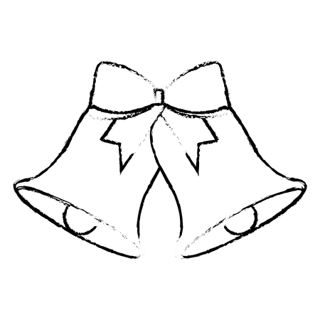 christmas bells with bow decoration vector illustration
