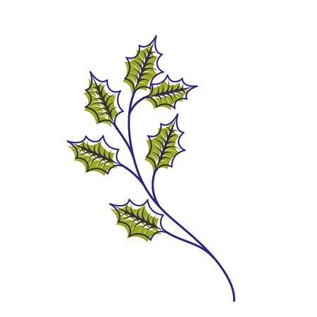 クリスマスの植物の枝の装飾アイコン。  イラスト・ベクター素材