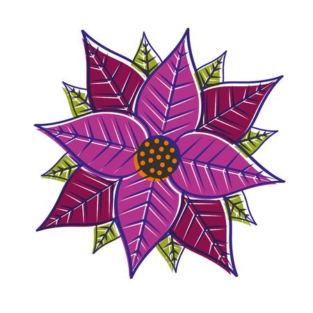 Christmas poinsettia flower and leaves. Illusztráció