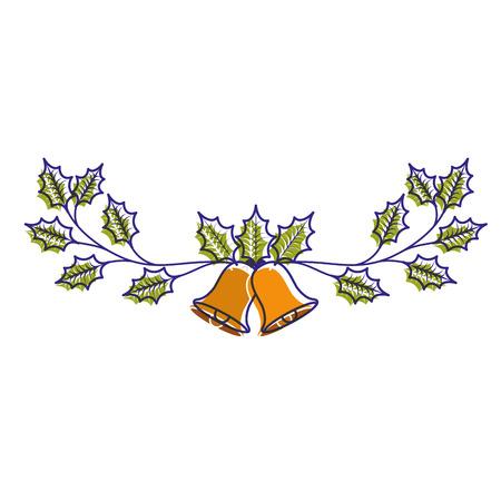 Weihnachten verzierte Verzierungsglocken und immergrüne Niederlassungsvektorillustration Standard-Bild - 89698283