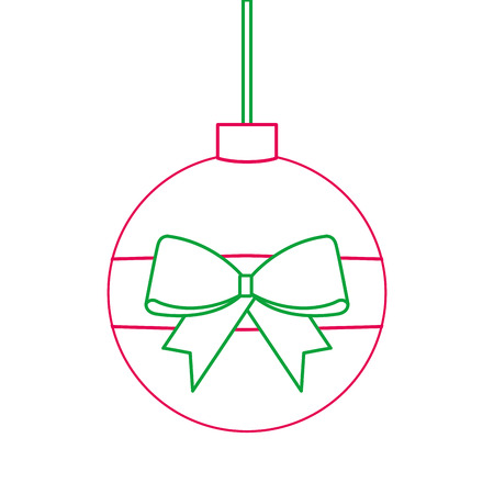 Christmas ball wrapped ribbon bow decoration vector illustration Stock Vector - 89702580
