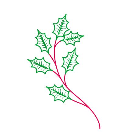 Christmas tree branch spruce fir nature decoration vector illustration 向量圖像