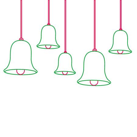 Christmas bells hanging decoration. Stock Vector - 89701121