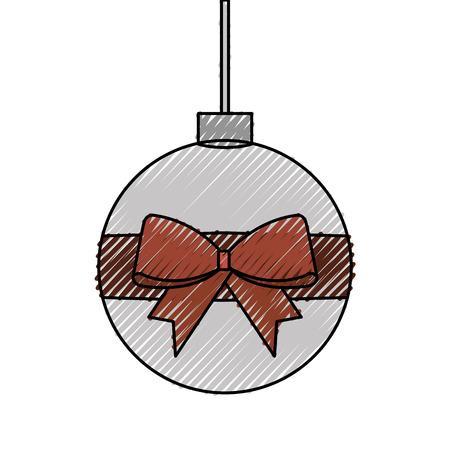 Christmas ball wrapped ribbon.
